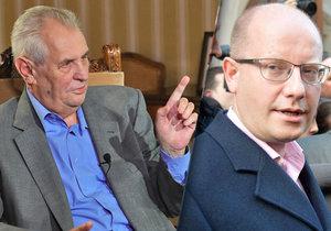 Prezident Miloš Zeman a končící premiér Bohuslav Sobotka (ČSSD)