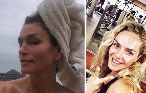 Cindy Crawford po cvičení, sauně a bez make-upu. Jaké další celebrity se fotí nenalíčené?