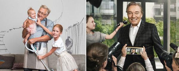 Celebrity s dětmi na uměleckých fotografiích: Gott v obležení malých novinářů a Menzel jako otec v domácnosti