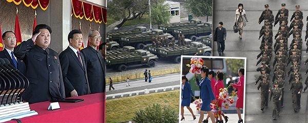 Drony, tísíce vojáků, umělé květiny: Severní Korea slaví 70 let komunismu