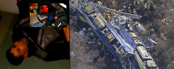 Děsivé záběry z německého vlaku smrti: Po čelní srážce byla všude krev a zranění!