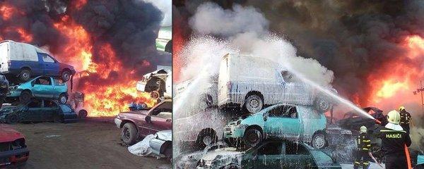 Na Frýdecku hořelo vrakoviště: Škodu sto tisíc způsobilo nedbalé rozbrušování