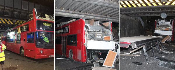 Skalpoval autobus: Řidič doubledeckeru vjel pod most a zranil 26 cestujících