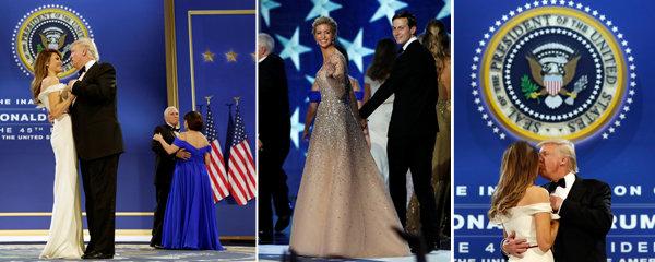 Polibky, tanec a vlastnoručně navržené šaty: Ivanka a Melania zářily po boku prezidenta Trumpa