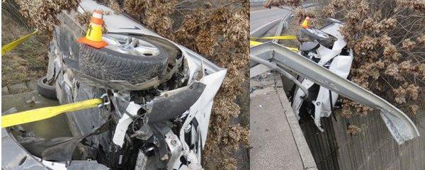 Děsivá nehoda: Mladík nezvládl své BMW a vyletěl ze zatáčky. Od pádu do propasti ho zachránilo křoví