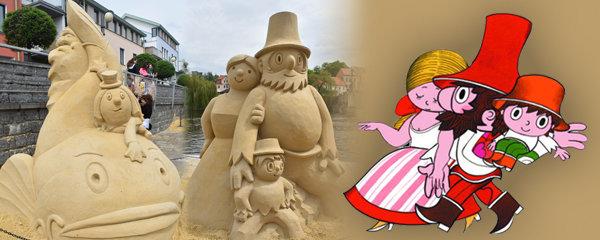 Unikátní podívaná: Písek obsadily obří sochy loupežníka Rumcajse!