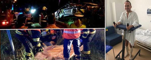 Fotky z nehody Zemanova muže v policejním žihadle: Hasiči dali 1. oficiální snímky