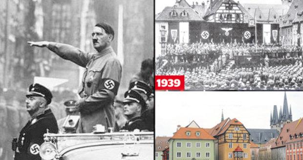Chebský Zelný trh v roce 1938 a náměstí Krále Jiřího z Podebrad dnes: Kdysi tyto prostory přivítaly Adolfa Hitlera