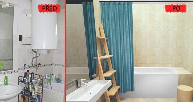 Proměna koupelny: otevřené police zmizely, přibyly barvy