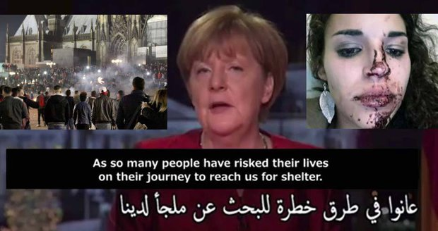 """Zatímco Angela Merkel vítala v novoročním projevu uprchlíky s arabskými titulky, muži """"arabského a severoafrického vzezření"""" zaútočili na Němky."""