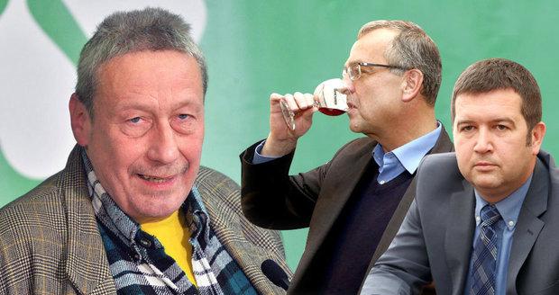 Politik Strany zelených Jan Šlechta, předseda TOP 09 Miroslav Kalousek a šéf sněmovny Jan Hamáček. Všichni řešili problém s alkoholem.
