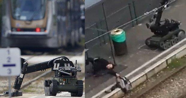 Robot na vyhledávání výbušnin a zneškodněný terorista