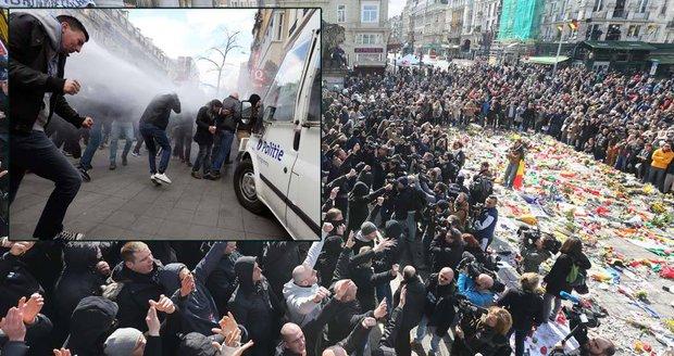 Hajlování, protiimigrantské slogany: Belgické radikály rozháněla vodní děla.