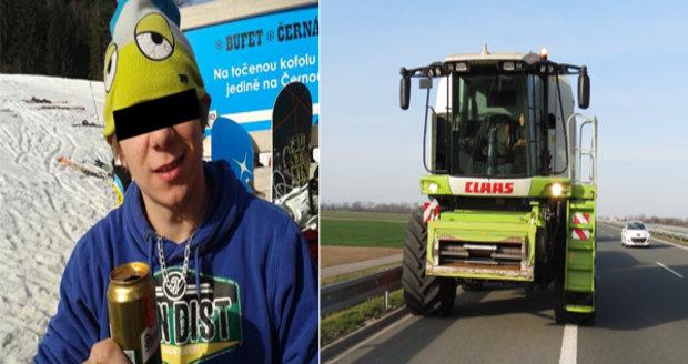 Jakub L. (23) vyjel s kombajnem s žací lištou na dálnici D11.