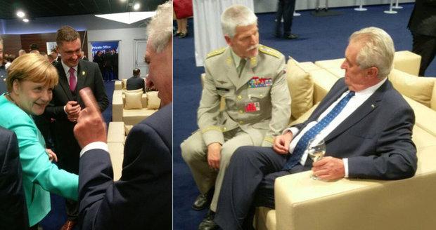 Zeman vztyčil na summitu NATO prst na Merkelovou. Kvůli uprchlíkům?
