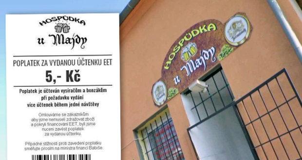 """Hospodský od Majdy chce za účtenku pět korun. Brojí proti """"bonzákům"""" a EET"""