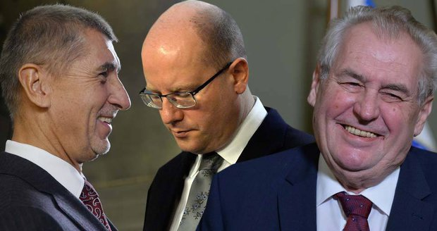 Zleva Andrej Babiš (ANO), Bohuslav Sobotka (ČSSD) a Miloš Zeman jako nejviditelnější čeští politici