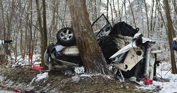 Auto na dálnici D10 narazilo do stromu, poté začalo hořet.
