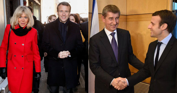 Fravorit voleb ve Francii Emmanuel Macron: Vlevo s manželkou Brigitte, vpravo s Andrejem Babišem