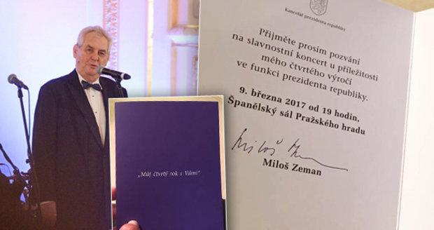Miloš Zeman - rok čtvrtý. Na slavnostním večeru ke čtvrtému výročí své inaugurace. Večer se také vyjádřil k další kandidatuře na prezidenta ČR.