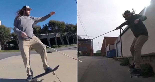 Daniel Mancina je nevidomý, ale stále jezdí na skateboardu.