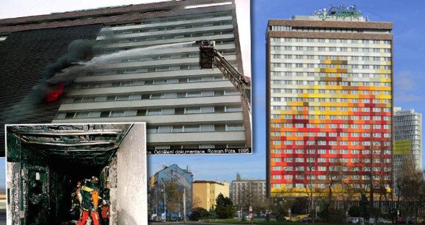 Ohnivé peklo v Praze nepřežilo před 22 lety 8 cizinců: Hotel Olympik podpálil ručník na ledničce