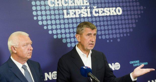 Andrej Babiš a první místopředseda a předseda poslaneckého klubu Jaroslav Faltýnek