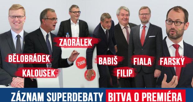 Záznam superdebaty Blesku! Nejvíc si po krku šel Babiš se Zaorálkem, hádali se o EU