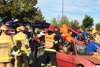 Hasi�i p�ed obcho��kem vypro��ovali osoby z nabouran�ch aut: P�ed cvi�en�m nev�d�li, do �eho jdou