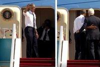 D�lej, Bille, poj� u�! Obama nah�n�l Clintona do letadla, pobavil internet