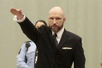 """Masový vrah Breivik opět hajloval u soudu. Ten má řešit jeho """"lidská práva"""""""