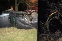 Vůz u Kroměříže prolétl stromem: Zraněného řidiče zachraňovali tři chlapci