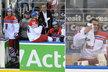 Bratři nešťastníci: Jan Kovář (vlevo) musel do kabiny po přísném rozhodnutí sudích, brankář Jakub střídal po čtvrtém gólu