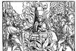 Upálení Jana Husa na dřevorytu z roku 1536.