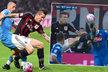 Marek Hamšík (vlevo) a Jural Kucka na sebe narazili v ligovém utkání Neapoli s AC Milán