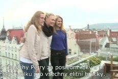 Maria Šarapovová, Petra Kvitová a Lucie Šafářová na tiskové konferenci před exhibičním duelem v O2 Aréně