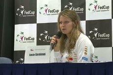 Lucie Šafářová na tiskové konferenci po vítězství nad Ivanovičovou