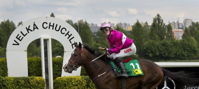 Vítěz Českého derby Jaromír Šafář s koněm Touch of Genius probíhají cílem