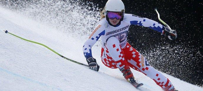 Ester Ledecká jako lyžařka při své premiéře ve sjezdu SP v Garmisch-Partenkirchenu