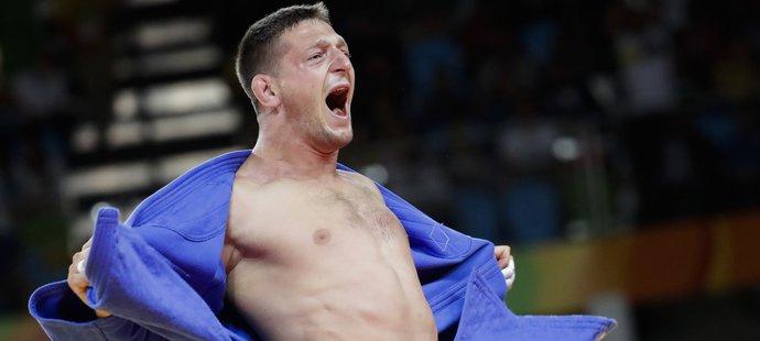 Judista Lukáš Krpálek se raduje z historického olympijského vítězství
