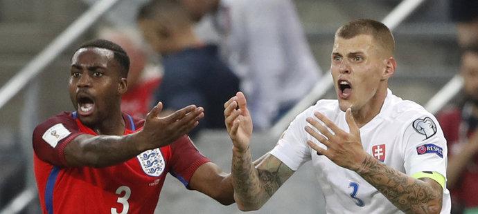 Slovenský kapitán Martin Škrtel utkání s Anglií kvůli vyloučení nedohrál