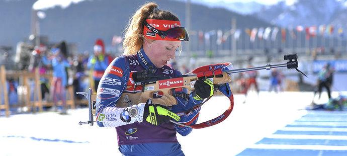 Česká biatlonistka Jessica Jislová v tréninku na MS v Hochfilzenu