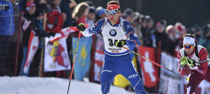 Adam Václavík ve stíhačce na MS biatlonistů v Hochfilzenu