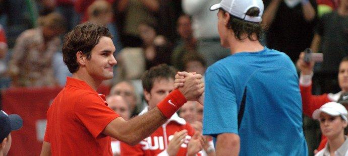 Roger Federer po vítězném daviscupovém zápase s Berdychem