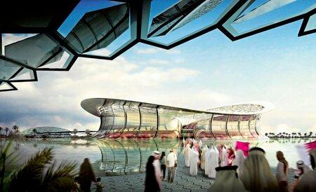 Nákres jednoho z katarských stadionů, který by měl hostit v roce 2022 mistrovství světa ve fotbale