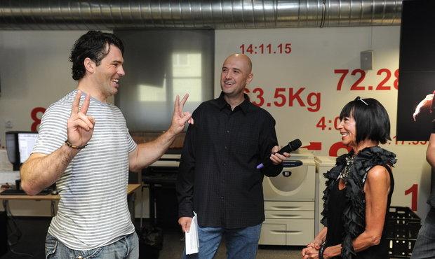 Jaromír Jágr se v redakci deníku Sport setkal i s módní kritičkou Františkou Čížkovou z Blesku