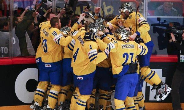Švédští hokejisté se radují z titulu mistrů světa
