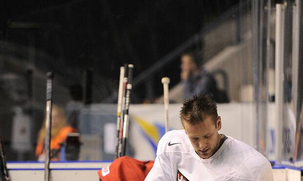 Jan Hejda na tréninku české reprezentace při mistrovství světa 2013 ve Švédsku