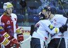 Hokejisté Liberce se radují z gólu do sítě pražské Slavie