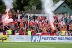 Fanoušci Slavie během 2. předkola Evropské ligy na hřišti Levadie Tallinn